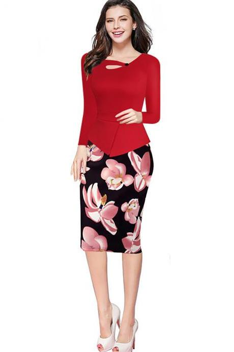 Women Floral Print Patchwork Pencil Dress Half/Long Sleeve Plus Size Slim Work OL Office Bodycon Party Dress 5#