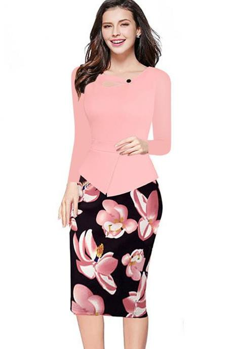 Women Floral Print Patchwork Pencil Dress Half/Long Sleeve Plus Size Slim Work OL Office Bodycon Party Dress 7#