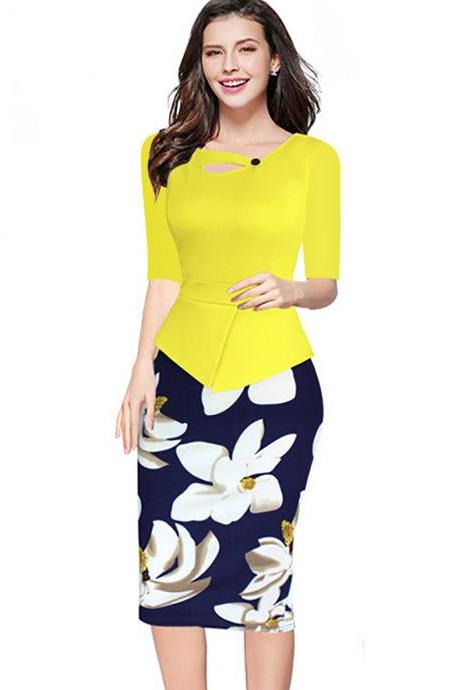 Women Floral Print Patchwork Pencil Dress Half/Long Sleeve Plus Size Slim Work OL Office Bodycon Party Dress 9#