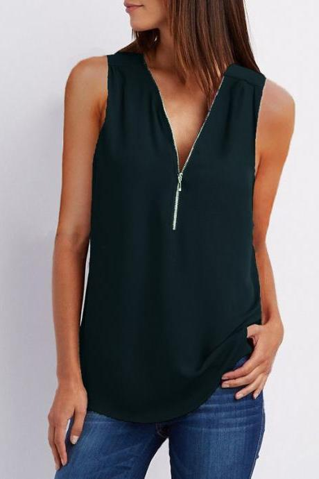 Sexy V Neck Chiffon Sleeveless Shirt Zipper Plus Size Blouse Loose Casual Top Vest black