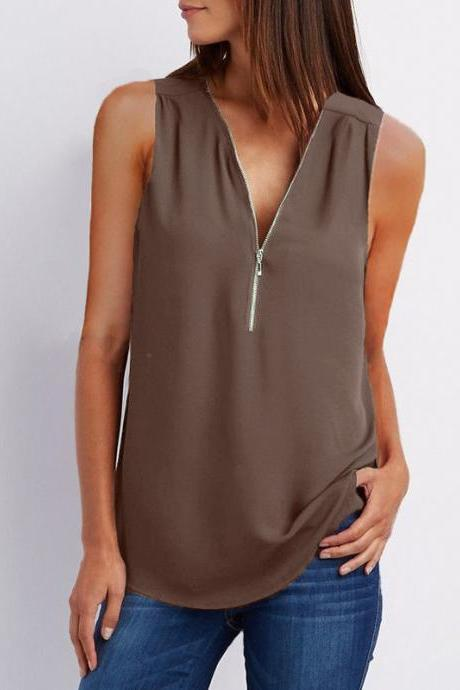 Sexy V Neck Chiffon Sleeveless Shirt Zipper Plus Size Blouse Loose Casual Top Vest coffee