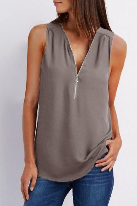Sexy V Neck Chiffon Sleeveless Shirt Zipper Plus Size Blouse Loose Casual Top Vest gray