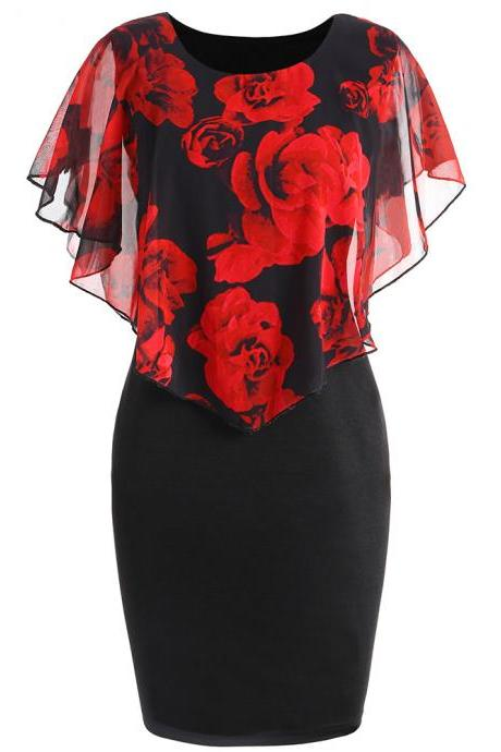 Women Bodycon Pencil Dress Summer Plus Size Cloak Sleeve Rose Printed Mini Club Party Dress red