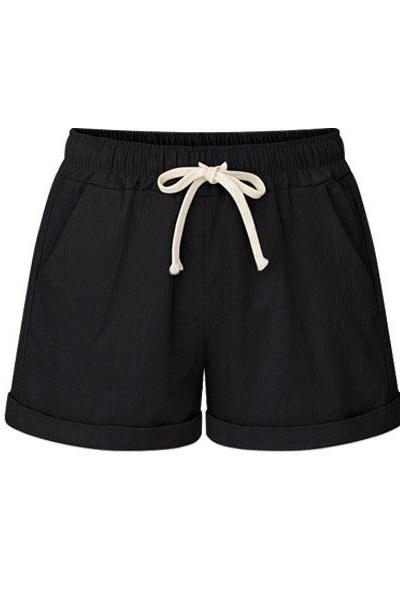 Plus Size Women Shorts Drawstring Mid Waist Loose Summer Casual Mini Harem Shorts black