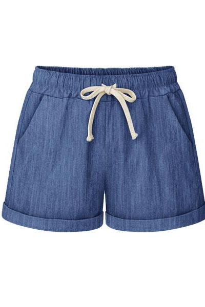 Plus Size Women Shorts Drawstring Mid Waist Loose Summer Casual Mini Harem Shorts blue
