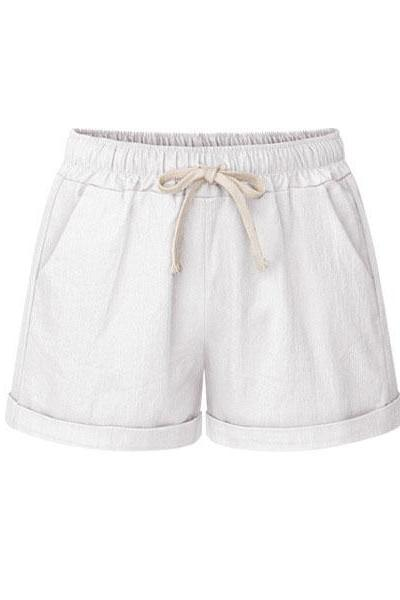 Plus Size Women Shorts Drawstring Mid Waist Loose Summer Casual Mini Harem Shorts off white