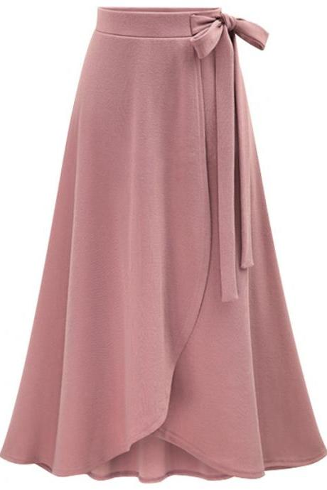 Women Asymmetrical Split Skirt High Waist Bow Party Midi A Line Skirt pink