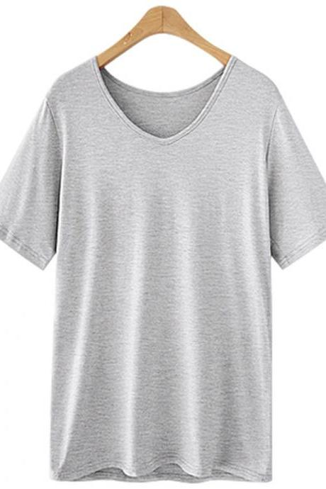 Women V Neck T Shirt Summer Short Sleeve Plus Size Casual Basic Tee Tops gray