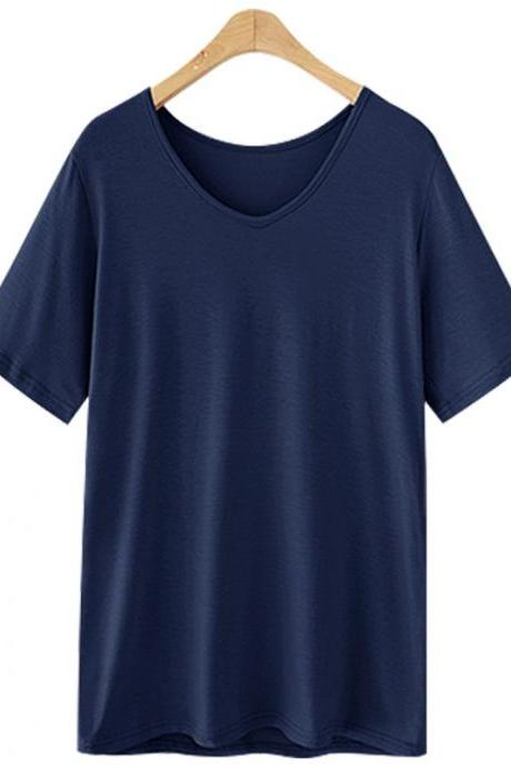 Women V Neck T Shirt Summer Short Sleeve Plus Size Casual Basic Tee Tops navy blue