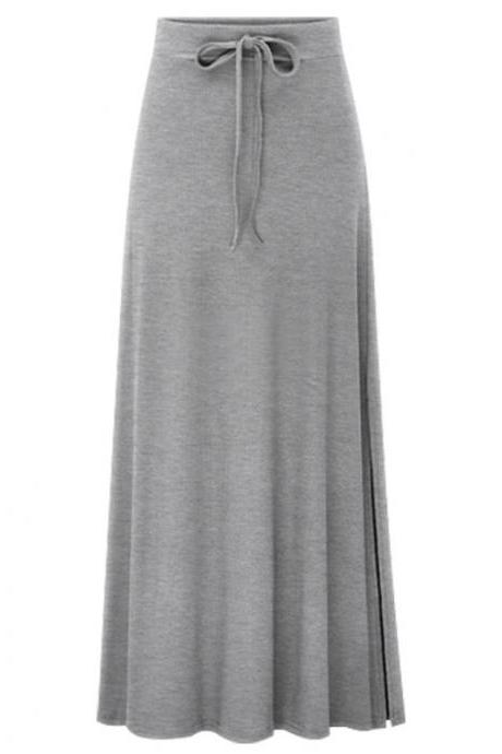 Plus Size Women Maxi Skirt Drawstring High Waist Side-Split Slim Fit Casual Long Skirt gray