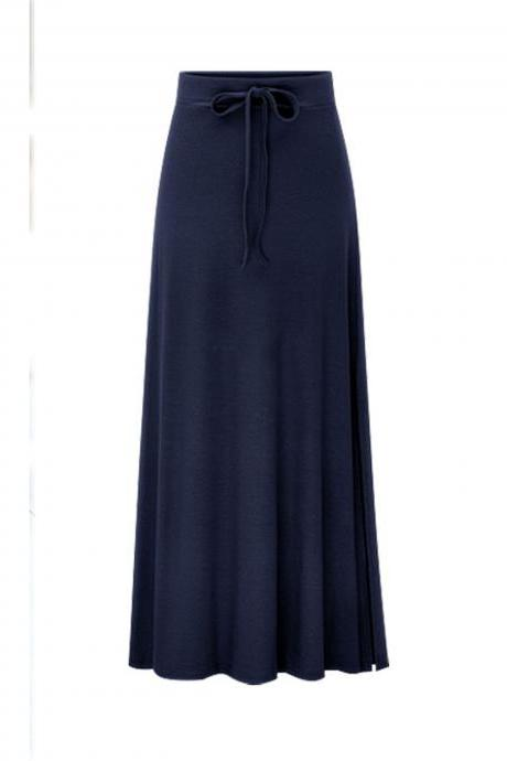 Plus Size Women Maxi Skirt Drawstring High Waist Side-Split Slim Fit Casual Long Skirt navy blue