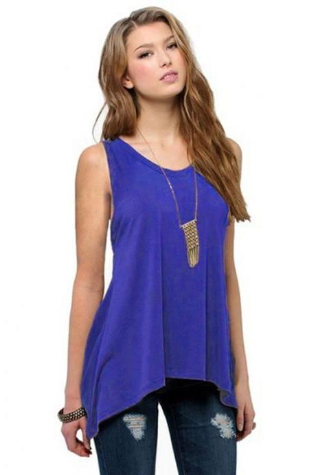 Plus Size Women Asymmetrical Tops Summer Vest Casual Loose Sleeveless T Shirt royal blue