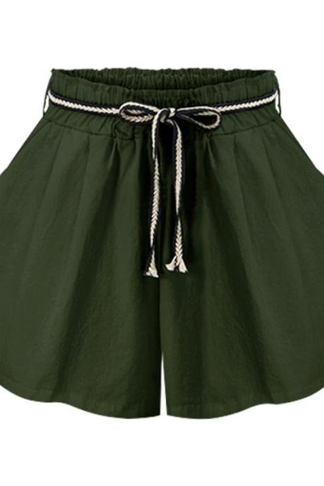 Women Wide Leg Shorts High Waist Belted Beach Summer Streetwear Loose Casual Shorts army green