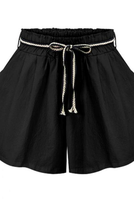 Women Wide Leg Shorts High Waist Belted Beach Summer Streetwear Loose Casual Shorts black