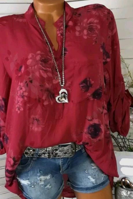 Women Shirt Floral Printed Long Sleeve V Neck Plus Size Casual Loose Tops Blouse crimson