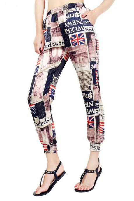 Women Harem Pants Summer Beach Elastic Waist Drawstring Loose Floral Printed Trousers1#