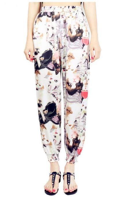 Women Harem Pants Summer Beach Elastic Waist Drawstring Loose Floral Printed Trousers2#
