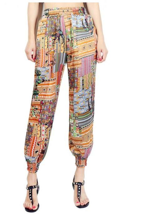 Women Harem Pants Summer Beach Elastic Waist Drawstring Loose Floral Printed Trousers5#
