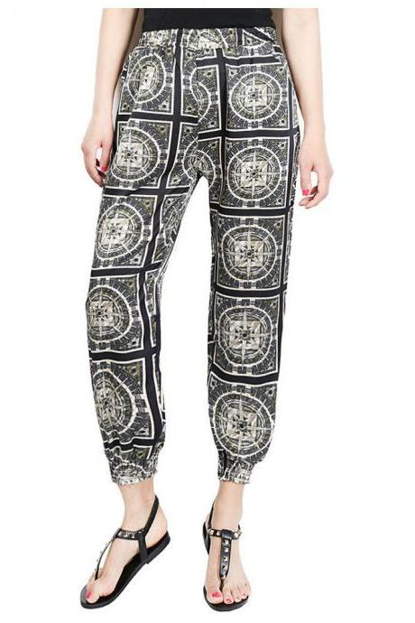 Women Harem Pants Summer Beach Elastic Waist Drawstring Loose Floral Printed Trousers7#