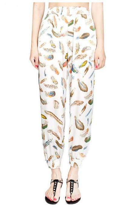 Women Harem Pants Summer Beach Elastic Waist Drawstring Loose Floral Printed Trousers8#