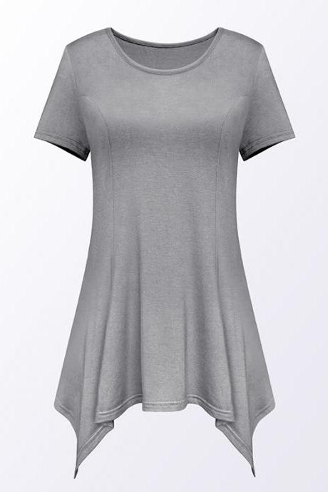 Women Asymmetric T-Shirt O Neck Short Sleeve Solid Loose Casual Tee Tops gray