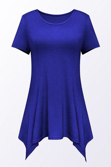 Women Asymmetric T-Shirt O Neck Short Sleeve Solid Loose Casual Tee Tops royal blue
