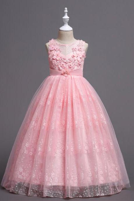 Long Lace Flower Girl Dress Teens Wedding Princess Party Birthday Gown Children Clothes pink