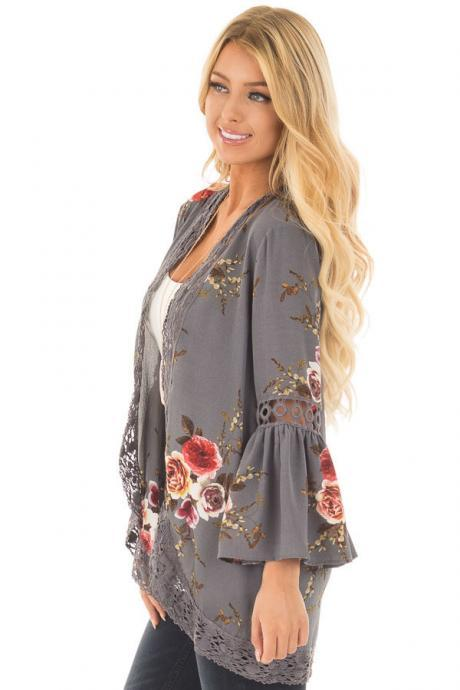 Boho Women Coat Jacket Hollow Lace Flare Long Sleeve Casual Open Stitch Floral Printed Cardigan gray