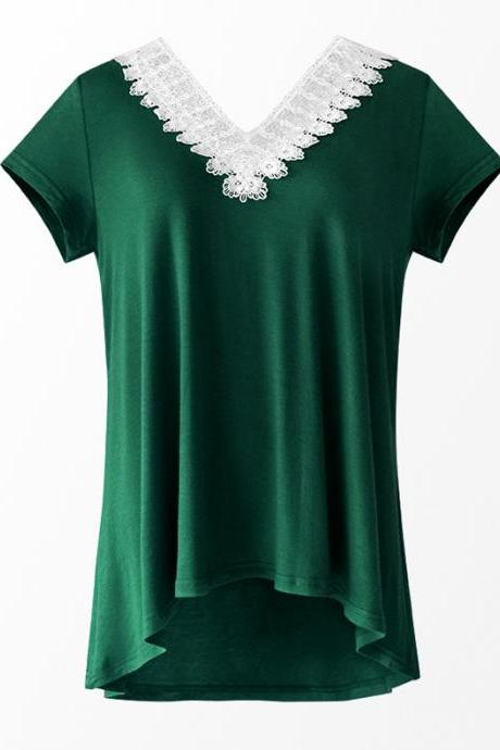Women Summer T Shirt V Neck Short Sleeve Slim Lace Patchwork Casual Tee Tops hunter green