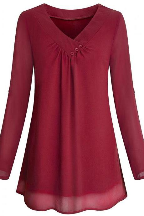 Women Chiffon Loose Blouse V Neck 3/4 Sleeve Button Casual Tops Shirt wine red