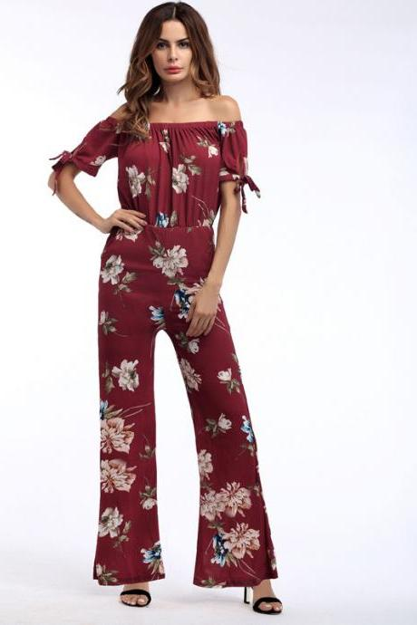 Women Long Jumpsuit Off Shoulder Short Sleeve Wide Leg Pants Chiffon Floral Printed Rompers 1#