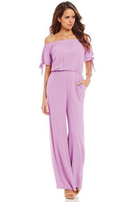 Women Long Jumpsuit Off Shoulder Short Sleeve Wide Leg Pants Chiffon Floral Printed Rompers lilac