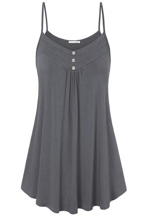 Plus Size Women Tank Tops Summer Casual Spaghetti Strap Button Vest Sleeveless T Shirt gray