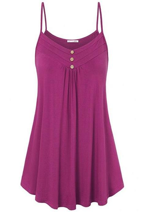 Plus Size Women Tank Tops Summer Casual Spaghetti Strap Button Vest Sleeveless T Shirt plum