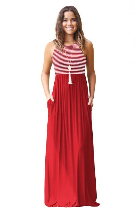 Women Boho Maxi Dress Sleeveless Summer Beach Striped Patchwok Long Sundress red