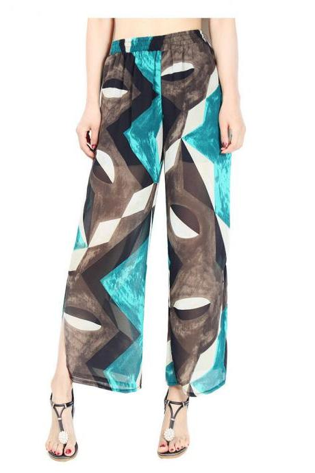 Women Chiffon Loose Casual Pants High Waist Summer Side Split Floral Printed Wide Leg Trousers1#