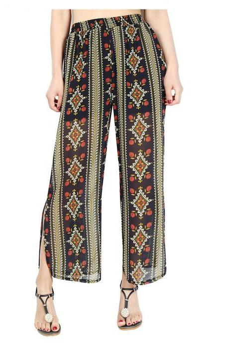 Women Chiffon Loose Casual Pants High Waist Summer Side Split Floral Printed Wide Leg Trousers3#