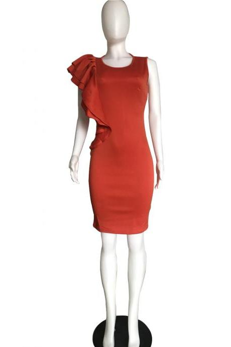 Women Pencil Dress Ruffles Summer Sleeveless Slim Bodycon Work Club Party Dress orange