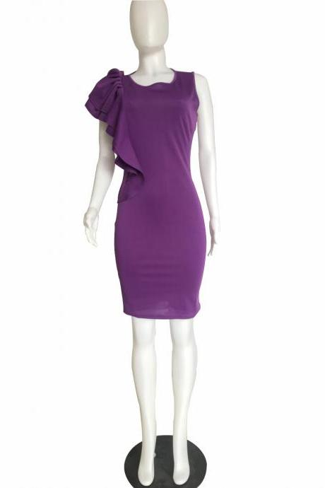Women Pencil Dress Ruffles Summer Sleeveless Slim Bodycon Work Club Party Dress purple