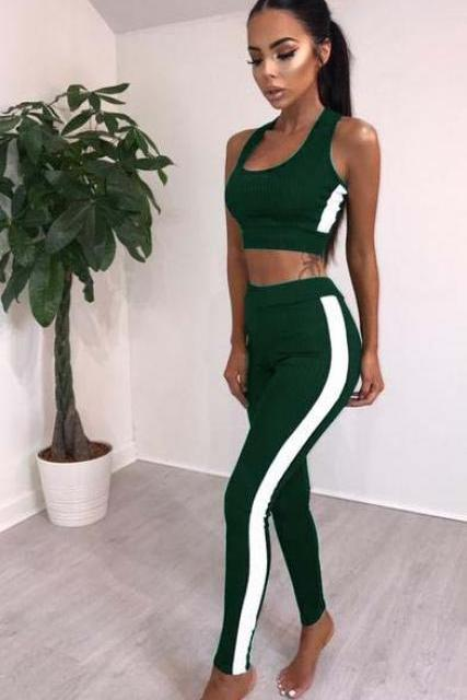 Women Tracksuit Crop Top+Long Pants Two Pieces Yoga Set Striped Sportswear Fitness Clothing green