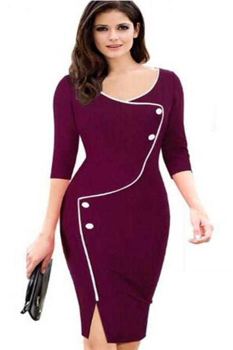 Womens Floral Printed Pencil Dress 3/4 Sleeve Button Split Business Office Bodycon Work Party Dress plum