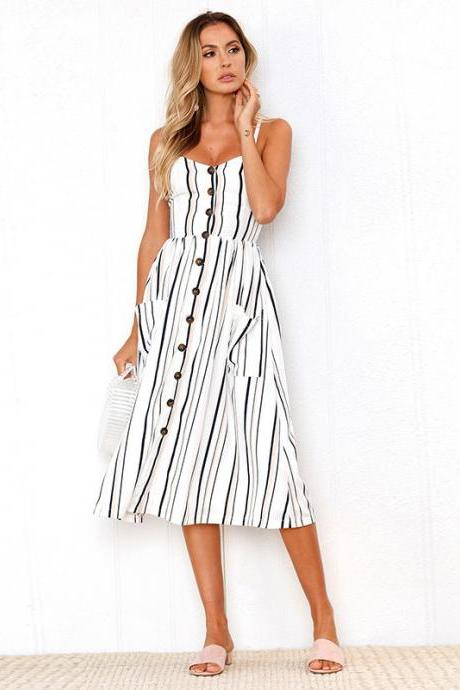 Women Midi Casual Dress Spaghetti Strap Button Pocket Boho Summer Beach Striped Sundress 2#