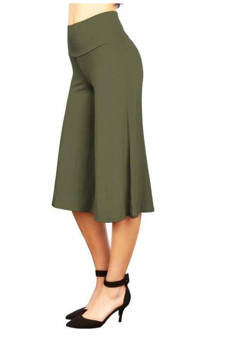 Women Wide Leg Pants High Waist Knee Length Summer Casual Loose Streetwear Trouses army green