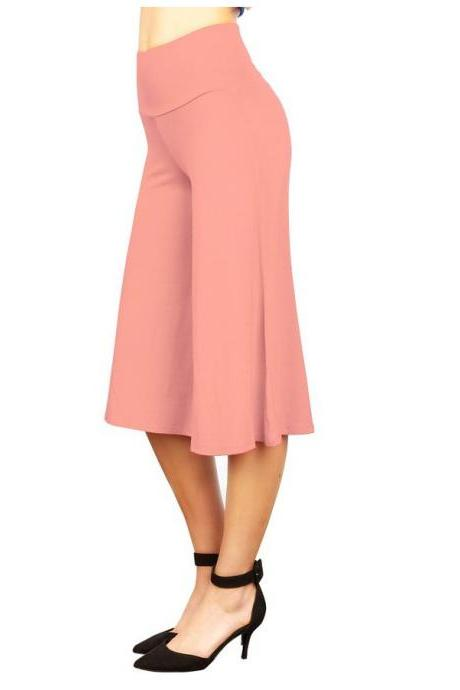 Women Wide Leg Pants High Waist Knee Length Summer Casual Loose Streetwear Trouses pink