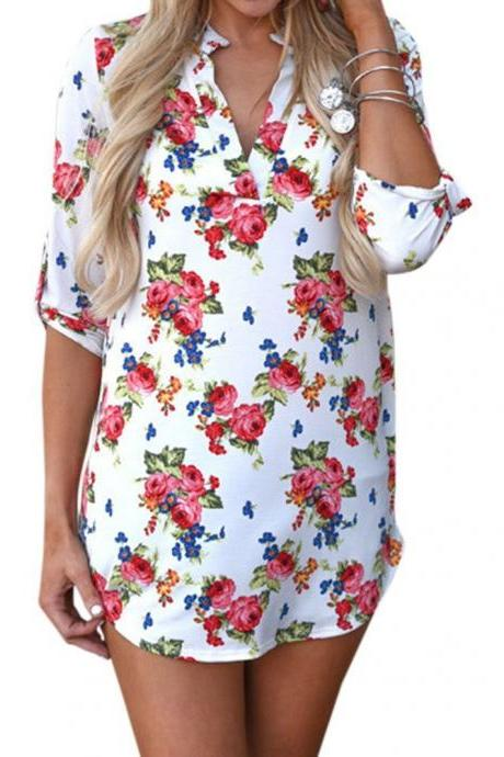 Women Floral Printed Blouse Long Sleeve V Neck Plus Size Casual Loose Tops Shirt off white floral