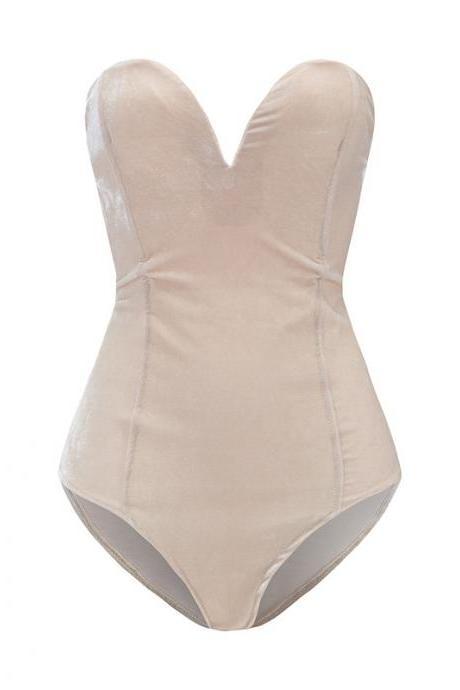 Beige Strapless Sweetheart Velvet Bodysuit Featuring Lace-Up Back
