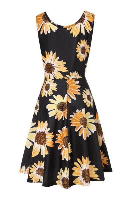 Women Floral Printed Casual Dress Sleeveless Summer Beach Boho Mini Club Party Dress1#