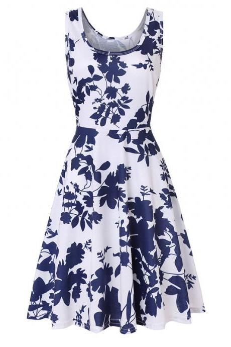Women Floral Printed Casual Dress Sleeveless Summer Beach Boho Mini Club Party Dress8#
