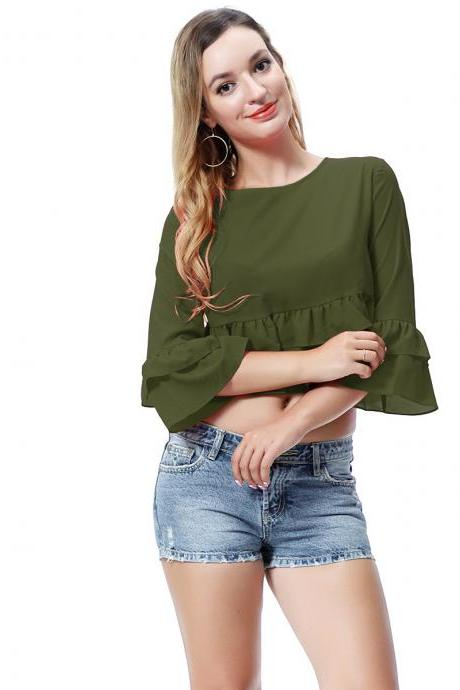 Women Crop Top 3/4 Sleeve Ruffles Summer Loose Tee Casual Streetwear T-Shirt army green