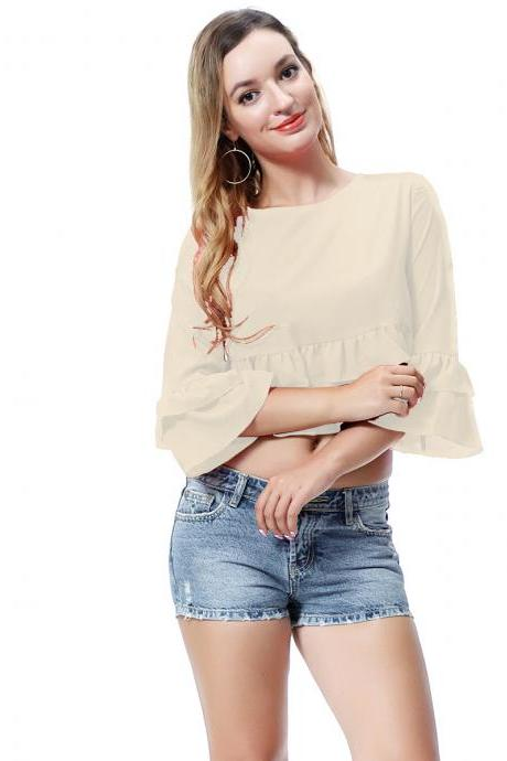 Women Crop Top 3/4 Sleeve Ruffles Summer Loose Tee Casual Streetwear T-Shirt beige